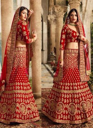 Anika looking Stunning In Beautiful In Red Taffeta Silk Thread Work Designer lehenga