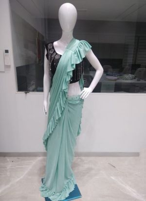 Aqua Color Designer Party Wear Readymade Ruffle Saree