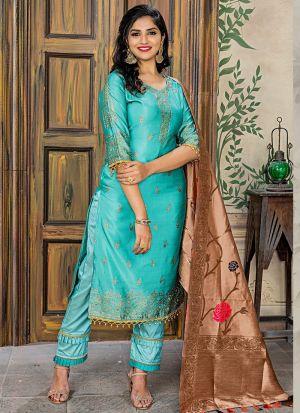 Aqua Green Banarasi Jacquard Pakistani Salwar Suit