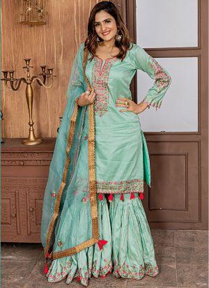 Aqua Green Zorba Sharara Style Salwar Suit