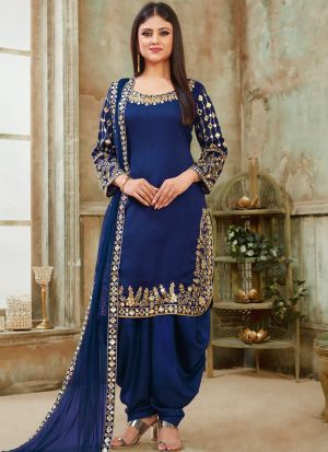 Art Silk Blue Admire Patiala Salwar Suit