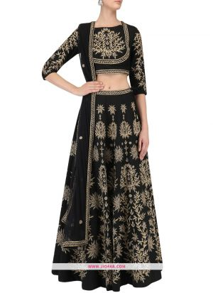 Art Silk Indian Lehenga Choli For Diwali Celebration In Black Color
