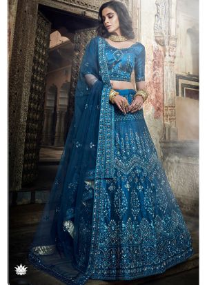 Art Silk Kerosene Blue Designer Lehenga Choli