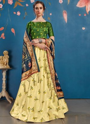 Art Silk Lemon Designer New Arrival Lehenga Choli