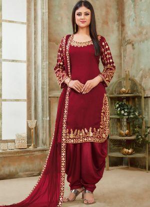 Art Silk Maroon Party Wear Patiala Salwar Suit