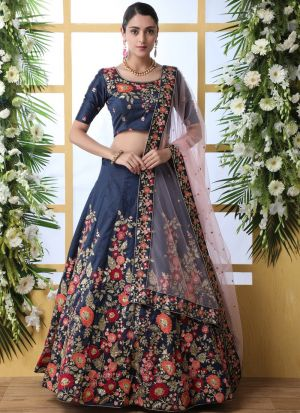 Art Silk Navy Designer New Arrival Lehenga Choli