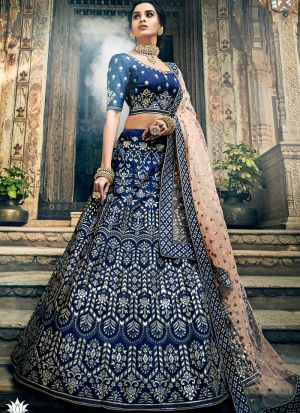 Art Silk Navy Traditional Lehenga Choli