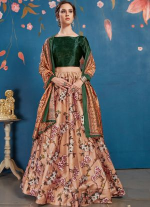 Art Silk Peach New Arrivals Lehenga Choli Collection