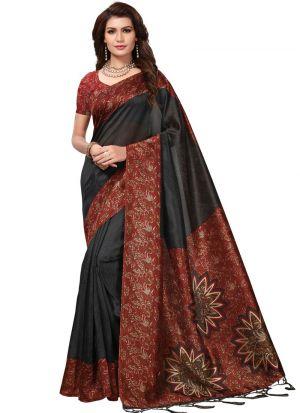 Art Silk Printed Black Casual Saree
