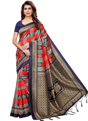 Art Silk Printed Navy And Red Classic Sarees