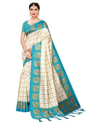 Art Silk Printed Rama Traditional Designer Sarees