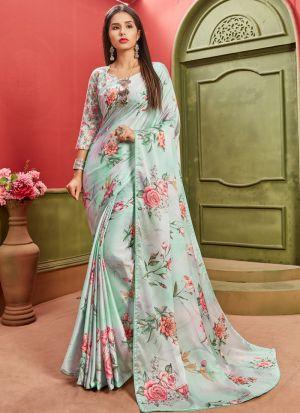 Attractive Multi Color Satin Designer Saree