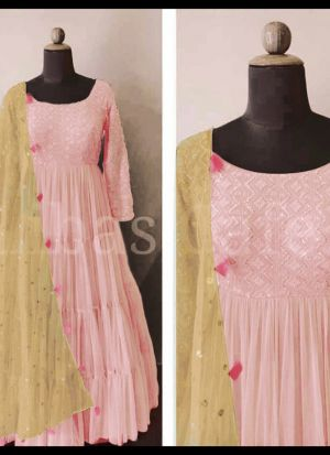 Attractive Party Wear Sequence Work Pink Gown
