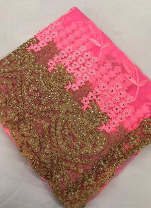 Attractive Pink Heavy Net Saree