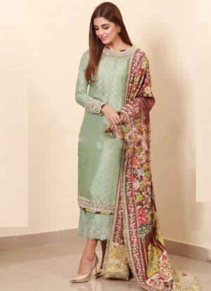 Authentic Satin Silk Palazzo Style Light Green Salwar Suit