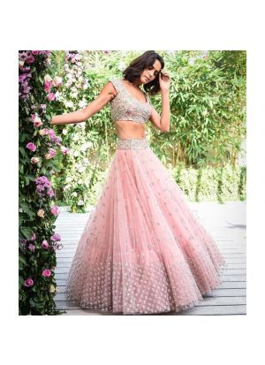 Baby Pink Butterfly Mono Net Latest Traditional Lehenga Choli