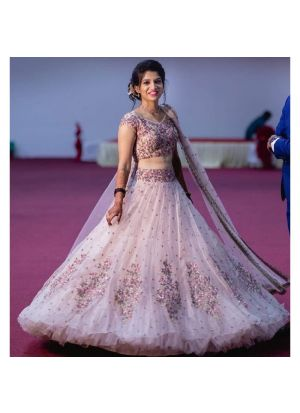 Baby Pink Butterfly Mono Net New Launch Party Wear Lehenga Choli