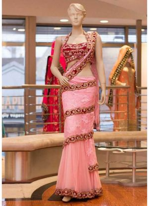 Baby Pink Color Butterfly Mono Net Latest Traditional Lehenga Choli