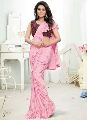 Baby Pink Color Fancy Designer Ready To Wear Party Wear Ruffle Saree For Women