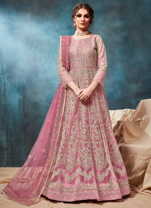 Baby Pink Net Designer Anarkali Style Suit