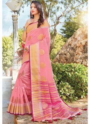 Baby Pink Women Wedding And Partywear Linen Cotton Saree