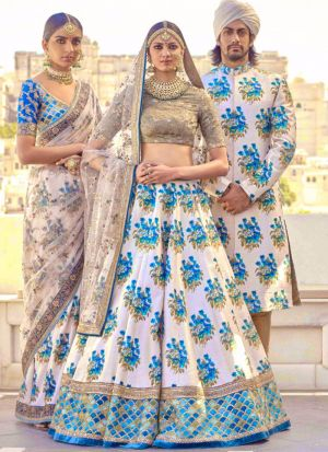 Bangalory Silk White Partywear Designer Lehenga With Blue Designing Border