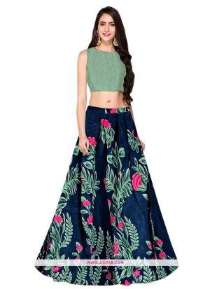 Banglori Satin Silk L-60 Tulsi Blue Partywear Lehenga