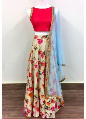 Banglory Satin Multi Color Classy Lehenga Choli