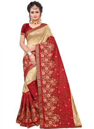Beautiful Cream And Red Lycra Saree For Women