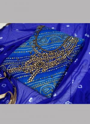 Beautiful Dark Blue Festive Wear Bandhani Dress