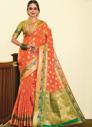 Beautiful Design Orange Silk Saree For Festive