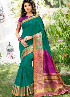 Beautiful Design Rama Khadi Silk Saree For Festive