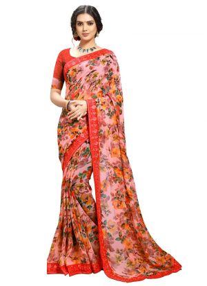 Beautiful Designer Multi Color Georgette Saree For Women