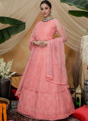 Beautiful Embroidered Pink Festive Wear Net Anarkali Suit