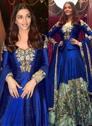Beautiful Heavy Taffeta Silk Blue Bollywood Lehenga Choli