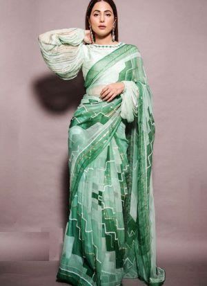 Beautiful Hina Khan Style Green Chinnon Silk Digital Printed Saree