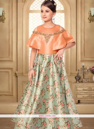 Beautiful Orange Color Indian Kids Gown For Girl