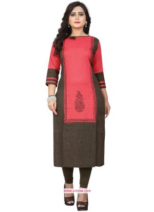 Beautiful Pink Slub Cotton Printed Kurti For Girl