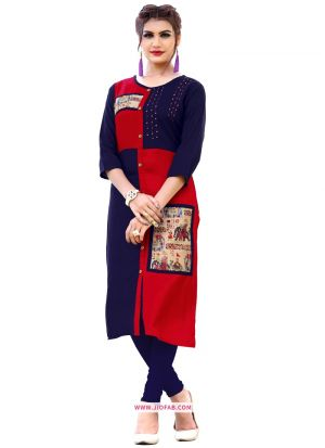 Beautiful Red And Blue Rayon Hand Work Kurti For Girl