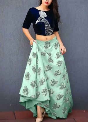 Beautiful Sky Blue Printed Jacquard Bridal Lehenga
