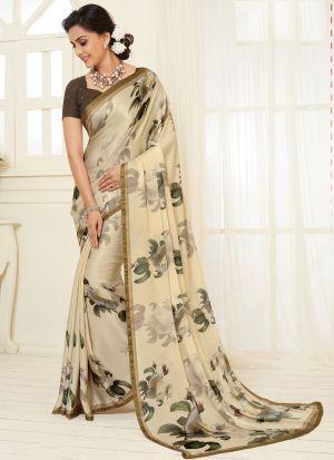 Beautiful Trendy Satin Georgette White Printed Saree
