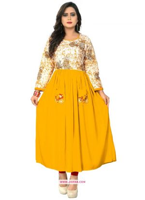 Beautiful Yellow Rayon Embroidered Kurti For Girl