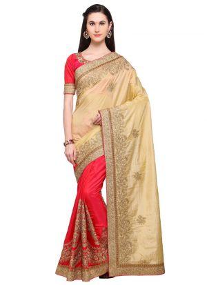 Beige Banarasi Silk Stylish Designer Party Wear Fancy Saree