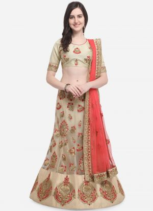 Beige Color Designer Wedding Lehenga Choli With Net Fabric