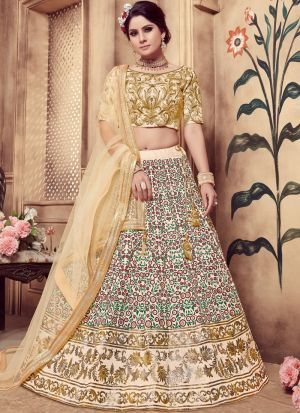 Beige Color Multi Rubber Foil Work Silk Designer Lehenga Choli