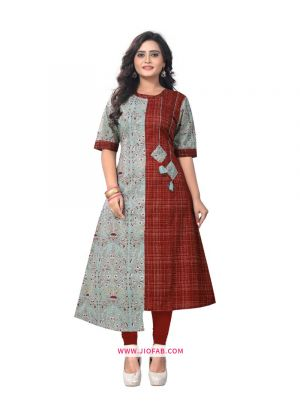 Beige Cotton Fabric Printed Stitched Festival Partywear Kurti