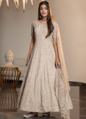 Beige Designer  Party Wear Net  Stone Work Anarkali Gown