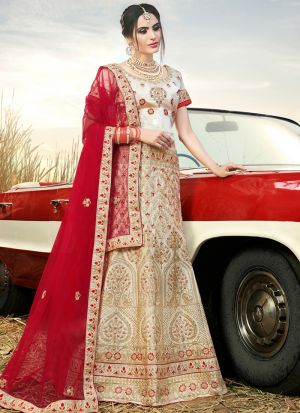 Beige Naylon Satin Traditional Lehenga Choli