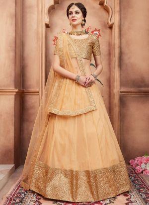 Beige Soft Net Florals Vol 2 Designer Lehenga Choli