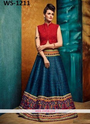 Benglori Silk Blue Anarkali Lehenga And Chaniya Choli